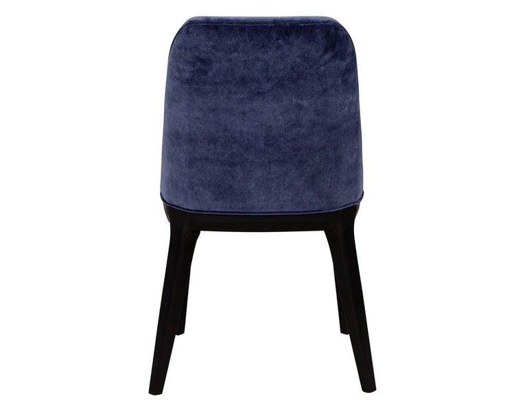 Set of 10 Custom Navy Velvet Modern Dining Chairs For Sale 10