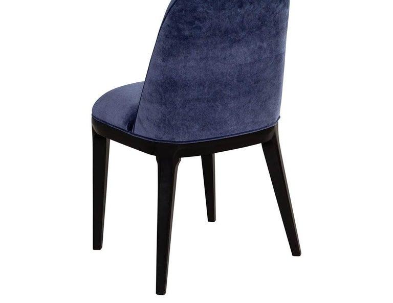 Set of 10 Custom Navy Velvet Modern Dining Chairs For Sale 12