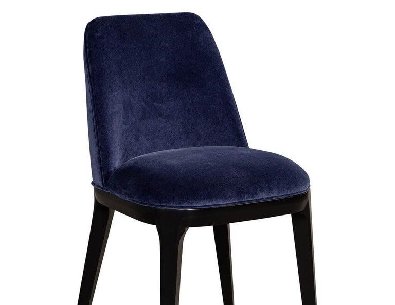 Set of 10 Custom Navy Velvet Modern Dining Chairs For Sale 13
