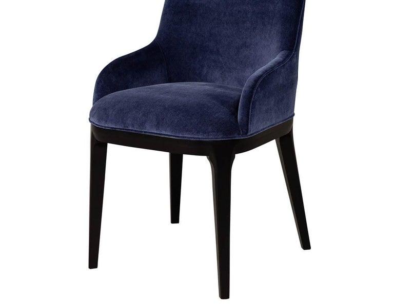 Set of 10 Custom Navy Velvet Modern Dining Chairs For Sale 15
