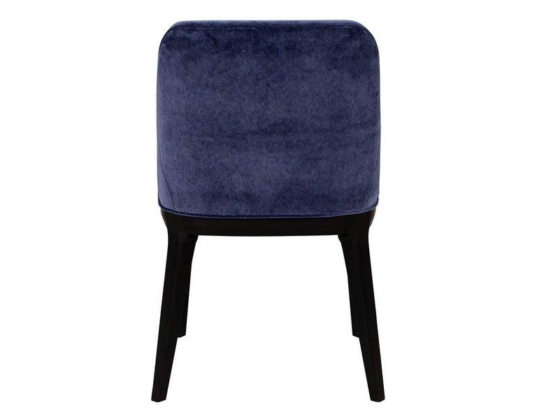 Set of 10 Custom Navy Velvet Modern Dining Chairs For Sale 3
