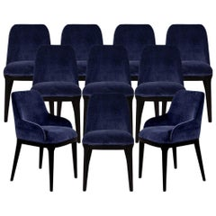 Set of 10 Custom Navy Velvet Modern Dining Chairs