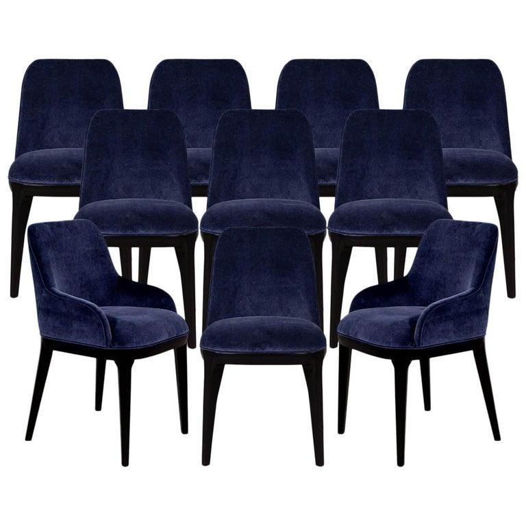 Set of 10 Custom Navy Velvet Modern Dining Chairs For Sale