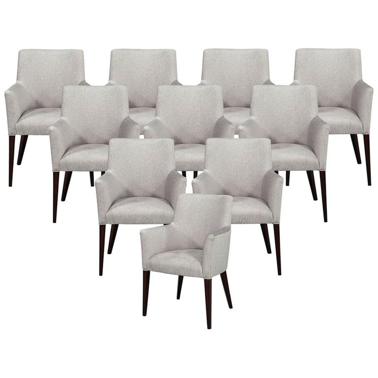 Set of 10 Custom Relari Modern Dining Chairs For Sale