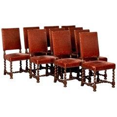 Set of 10 Danish Barley Twist Oak Side Chairs with Vintage Velvet