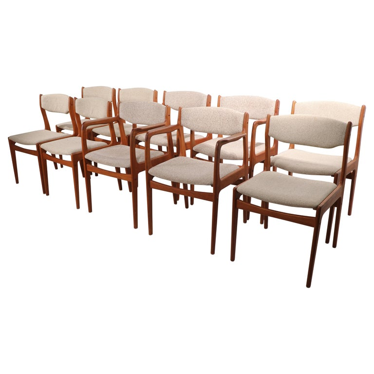 Set of 10 Danish Dining Chairs Att. to Erik Buch for Odense Maskinsnedkeri For Sale