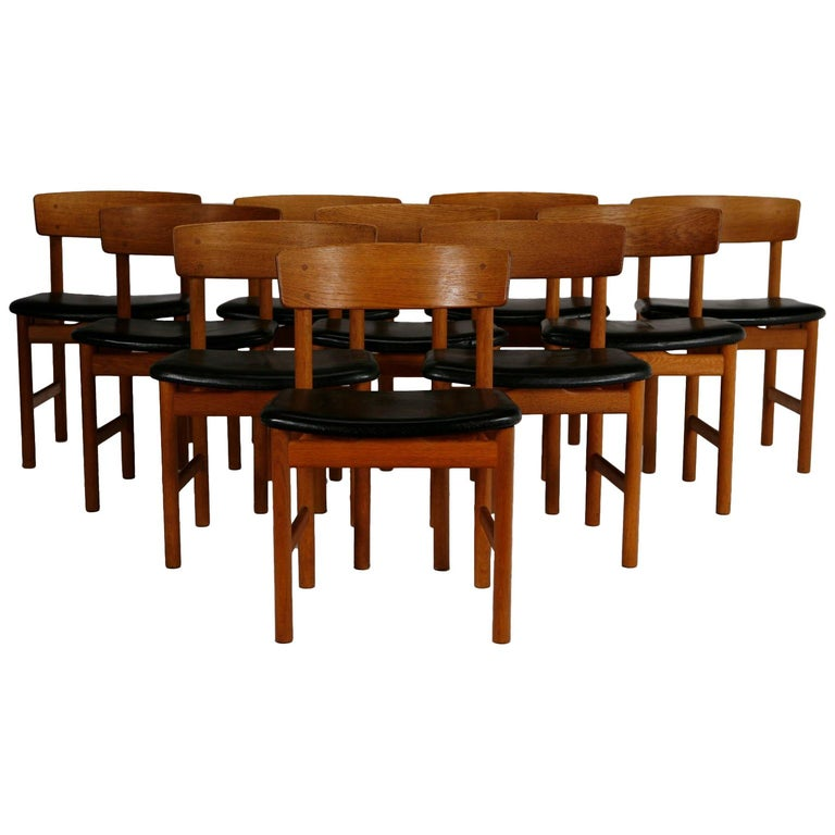 Set of 10 Danish Dining Chairs in by Børge Mogensen for Fredericia Stolefabrik For Sale
