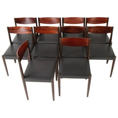 Set of 10 Danish Modern Rosewood Dining Chairs by Poul Volther for Frem Rojle