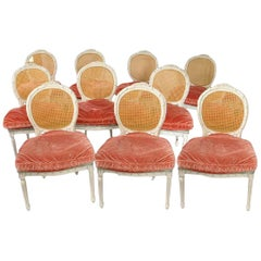 Set of 10 Dining Chairs Painted Wood, Cane with Pink Silk Velvet Cushions