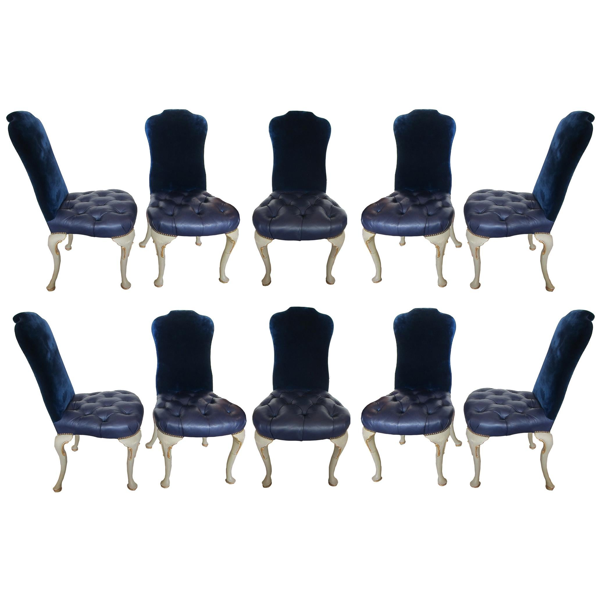 Set of 10 Dining Chairs Queen Anne Style