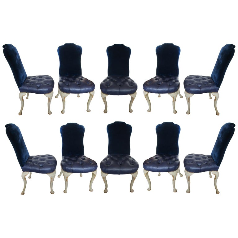 Set of 10 Dining Chairs Queen Anne Style For Sale