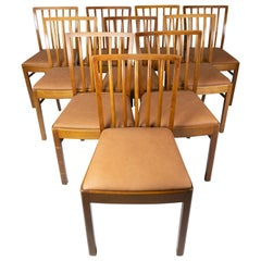 Set of 10 Dining Room Chairs of Light Wood and Cognac Leather, 1940s