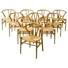 Set of 10 Early Original Hans Wegner CH24 Wishbone Chairs, circa 1955