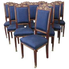 Set of 10 Empire Style Dining Side Chairs