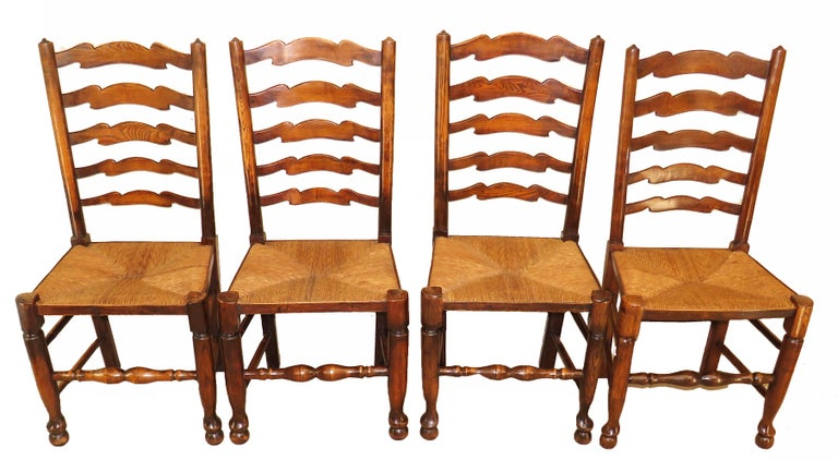 Victorian Set of 10 English 19th Century Ash & Elm Ladder Back Dining Chairs For Sale