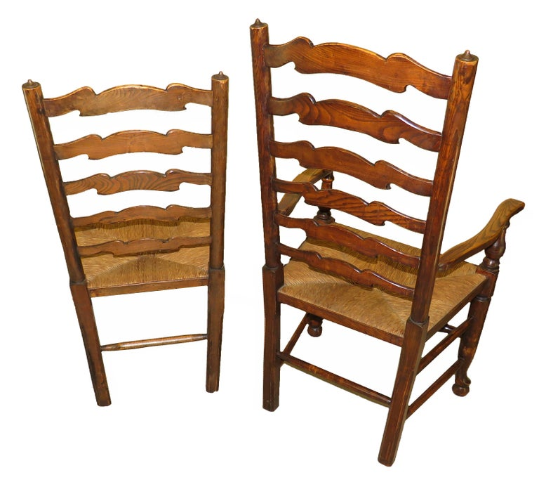 Set of 10 English 19th Century Ash & Elm Ladder Back Dining Chairs In Good Condition For Sale In Bedfordshire, GB