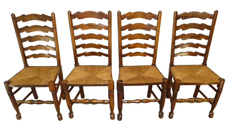 Set of 10 English 19th Century Ash & Elm Ladder Back Dining Chairs For Sale 1