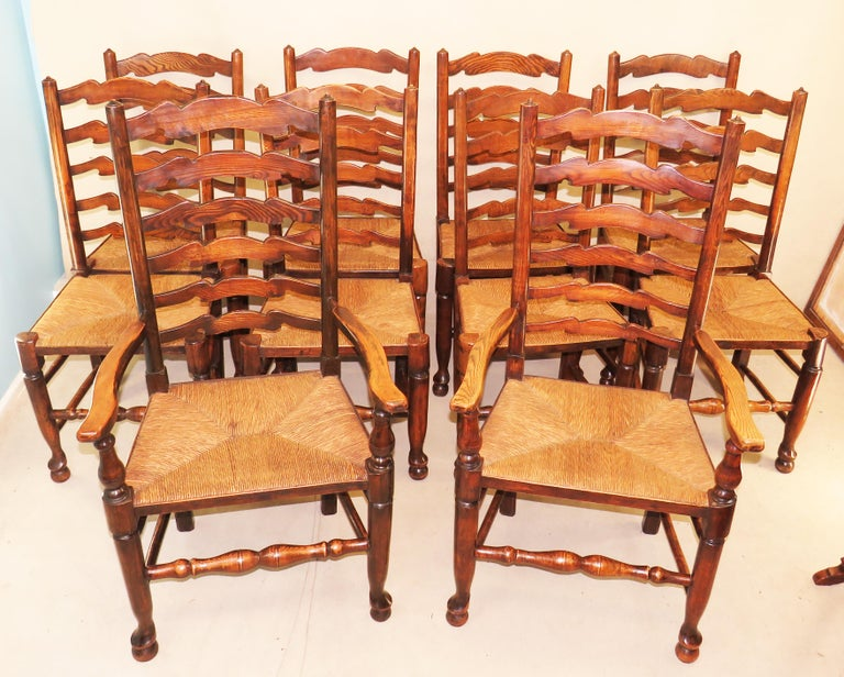Set of 10 English 19th Century Ash & Elm Ladder Back Dining Chairs For Sale 2