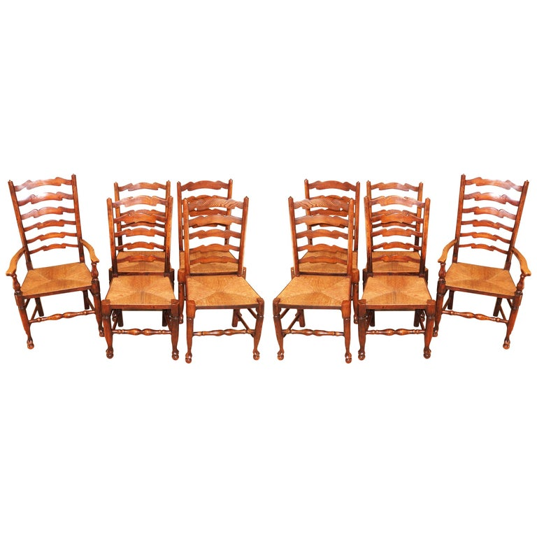 Set of 10 English 19th Century Ash & Elm Ladder Back Dining Chairs For Sale