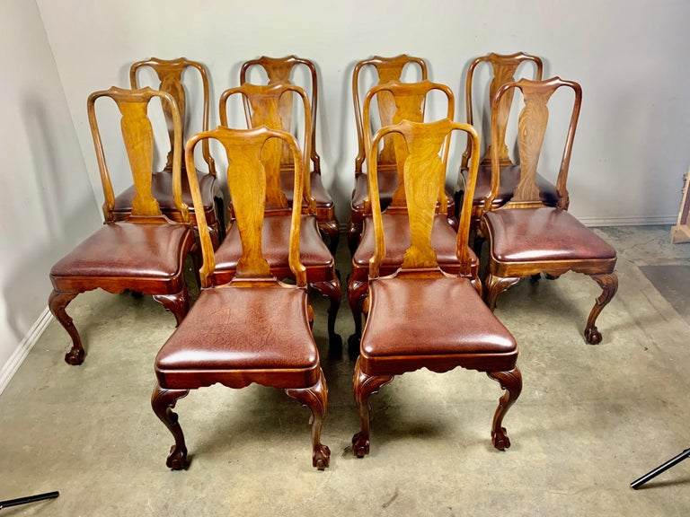 20th Century Set of '10' English Queen Anne Style Side Chairs For Sale