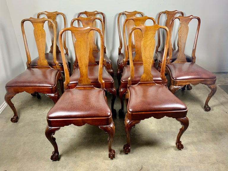 Set of '10' English Queen Anne Style Side Chairs In Good Condition For Sale In Los Angeles, CA