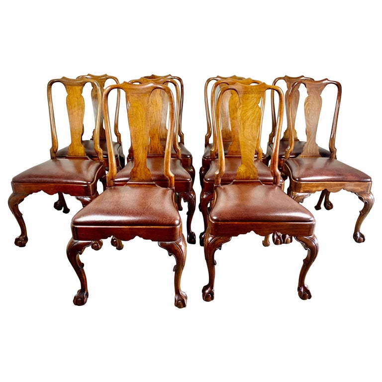Set of '10' English Queen Anne Style Side Chairs For Sale