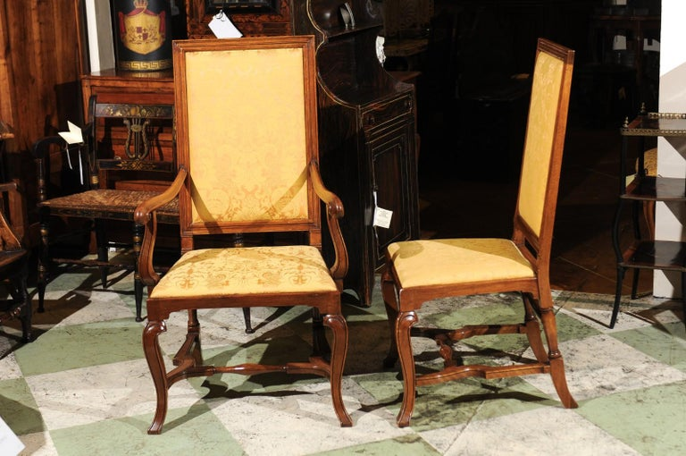 Set of 10 English Queen Anne Style Walnut Dining Chairs For Sale 5