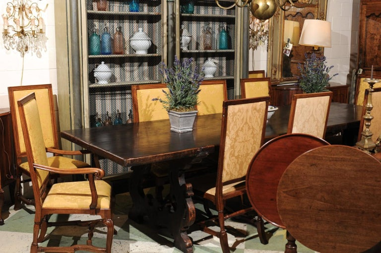 Set of 10 English Queen Anne Style Walnut Dining Chairs For Sale 7