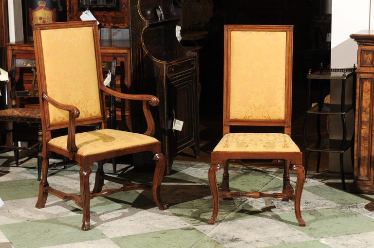 Set of 10 English Queen Anne Style Walnut Dining Chairs In Good Condition For Sale In Atlanta, GA