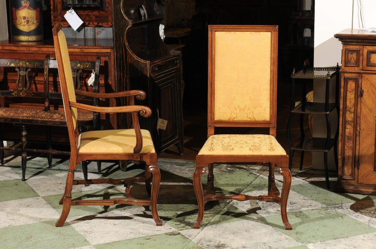 Set of 10 English Queen Anne Style Walnut Dining Chairs For Sale 1