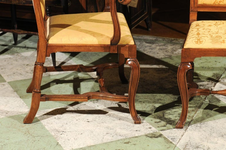 Set of 10 English Queen Anne Style Walnut Dining Chairs For Sale 2