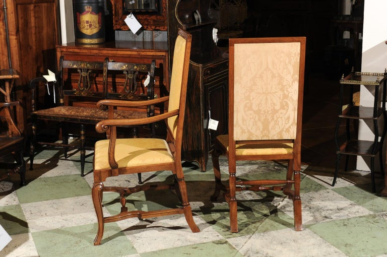 Set of 10 English Queen Anne Style Walnut Dining Chairs For Sale 4