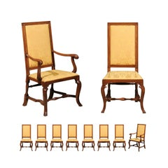 Set of 10 English Queen Anne Style Walnut Dining Chairs