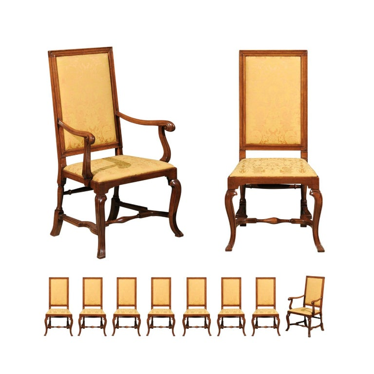 Set of 10 English Queen Anne Style Walnut Dining Chairs For Sale