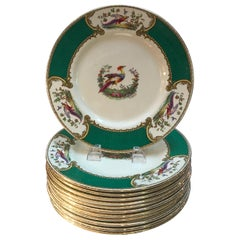 Set of 10 English Staffordshire Chelsea Bird Plates