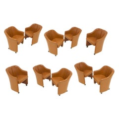 "Set of 10 Eugenio Gerli for Tecno, ""Series 142"" Executive Leather Dining Chairs"