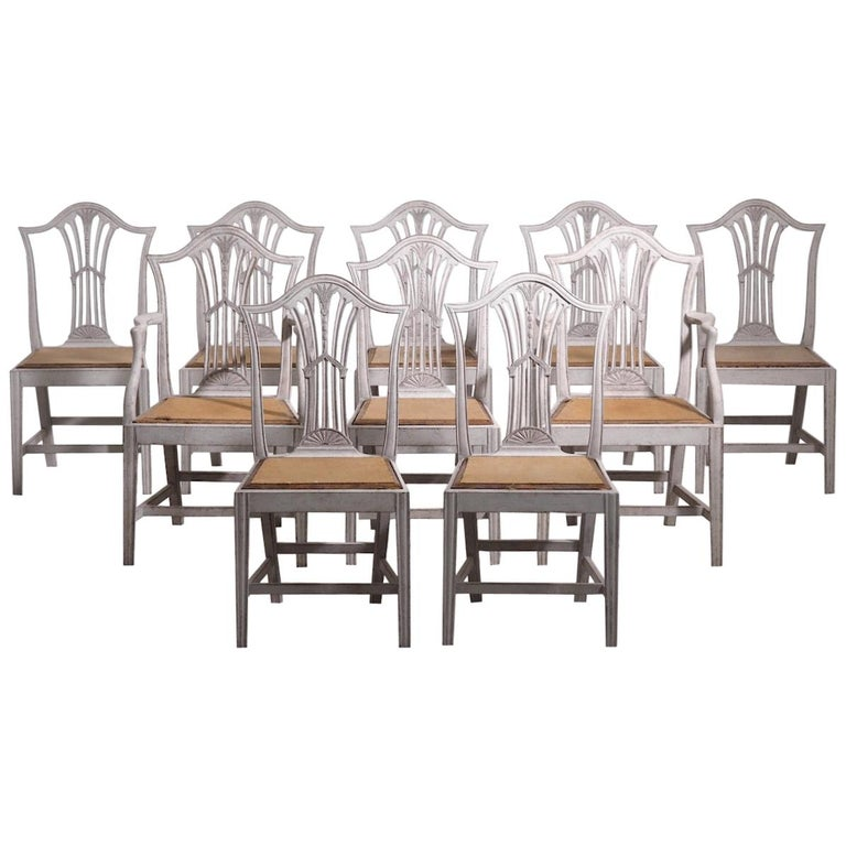 Set of 10 European Chairs, 19th Century For Sale