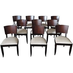 Set of 10 Fine French Art Deco Chairs Palissander and Stained Beech Side Chairs