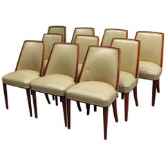 Set of 10 Fine French Art Deco Mahogany Dining Chairs by Albert Guenot