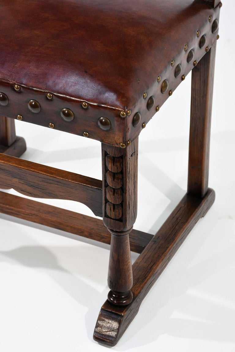 Set of Ten French Spanish Style Leather Dining Chairs For Sale 3