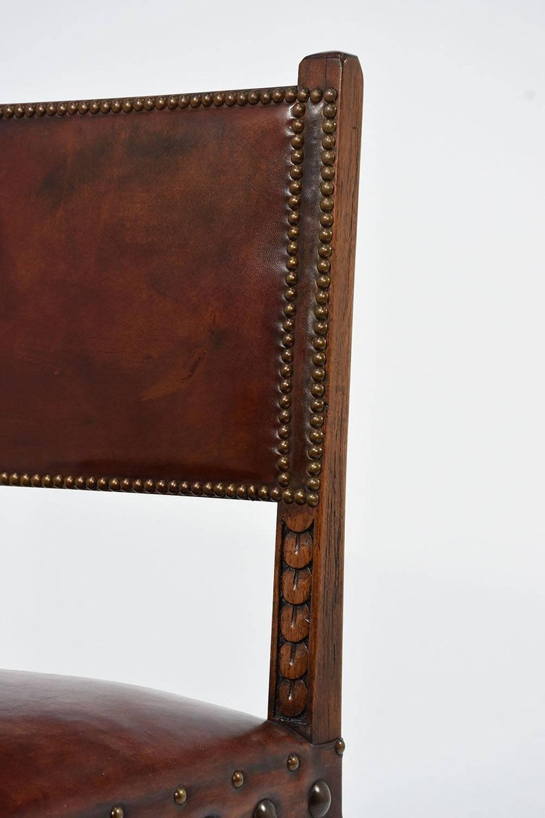 Set of Ten French Spanish Style Leather Dining Chairs For Sale 6
