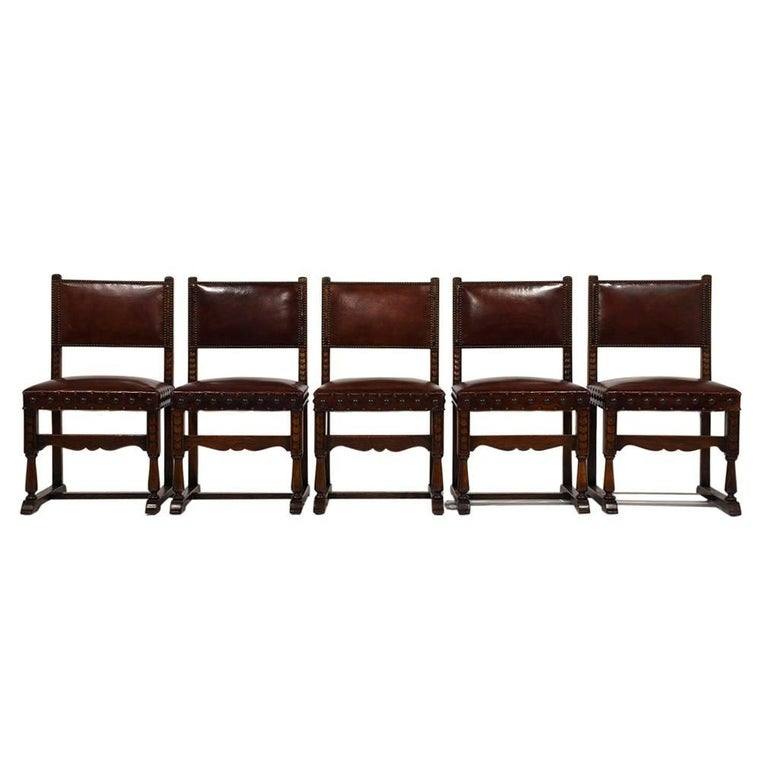 Baroque Set of Ten French Spanish Style Leather Dining Chairs For Sale