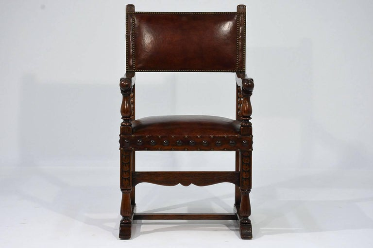Set of Ten French Spanish Style Leather Dining Chairs In Excellent Condition For Sale In Los Angeles, CA