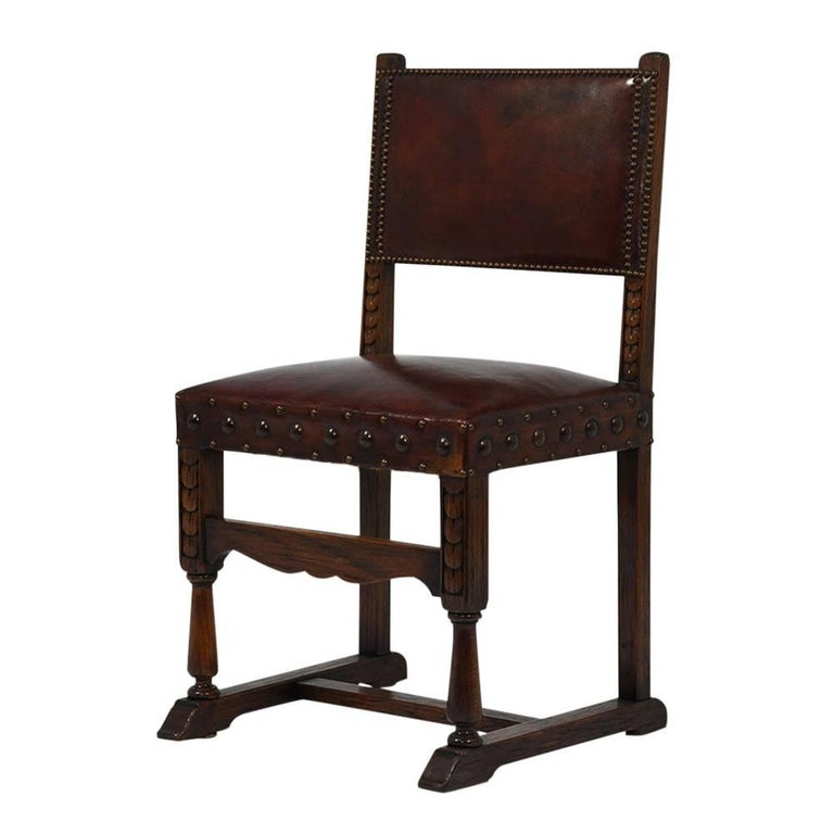 Brass Set of Ten French Spanish Style Leather Dining Chairs For Sale