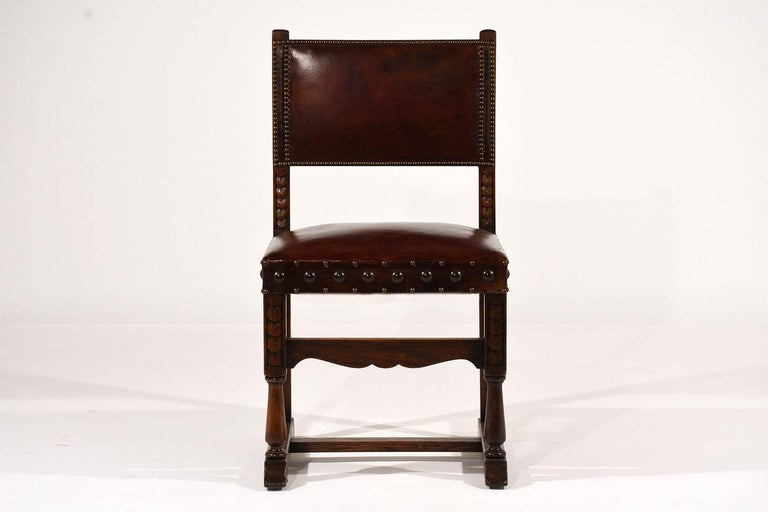 Set of Ten French Spanish Style Leather Dining Chairs For Sale 1