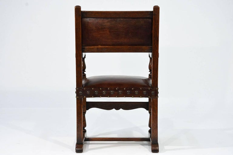 Set of Ten French Spanish Style Leather Dining Chairs For Sale 2