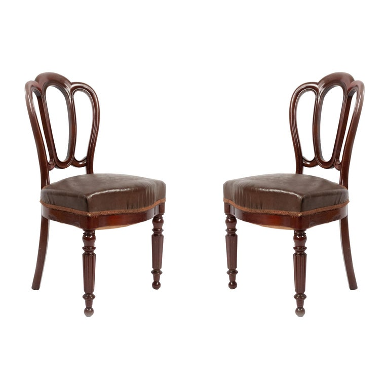 Set of 10 French Empire Mahogany Dining Chairs For Sale
