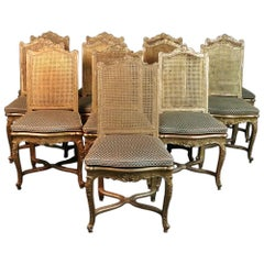 Set of 10 French Gilded Cane Louis XV Style Dining Room Chairs
