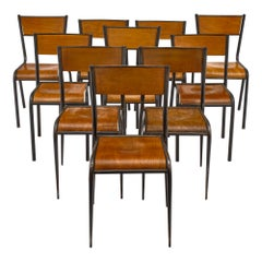 Set of 10 French Industrial Chairs