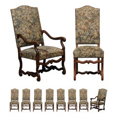Set of 10 French Louis XIII Style Dining Room Chairs with Floral Upholstery